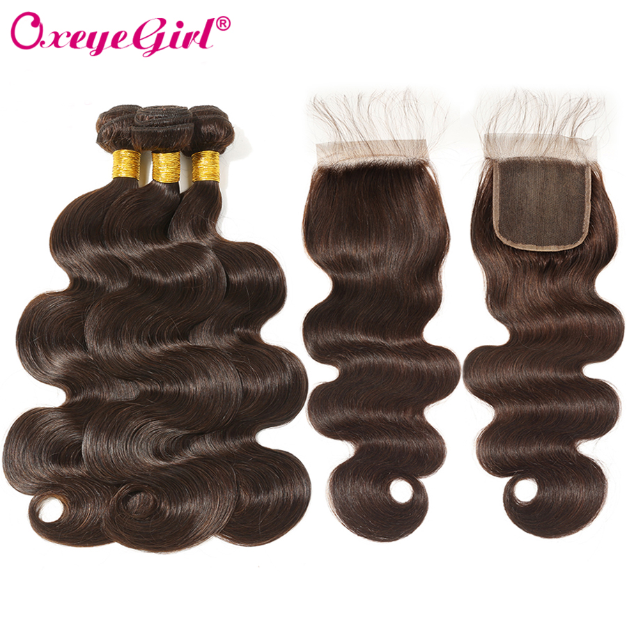 Dark Brown Brazilian Body Wave Bundles With Closure 3 Bundles With Closure Colored Human Hair Bundles