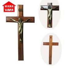 40*20CM Wall Hanging Wooden Bronze Cross Crucifix Jesus Christ Antique Silver Finish Jesus on INRI Cross Home Chapel Decor