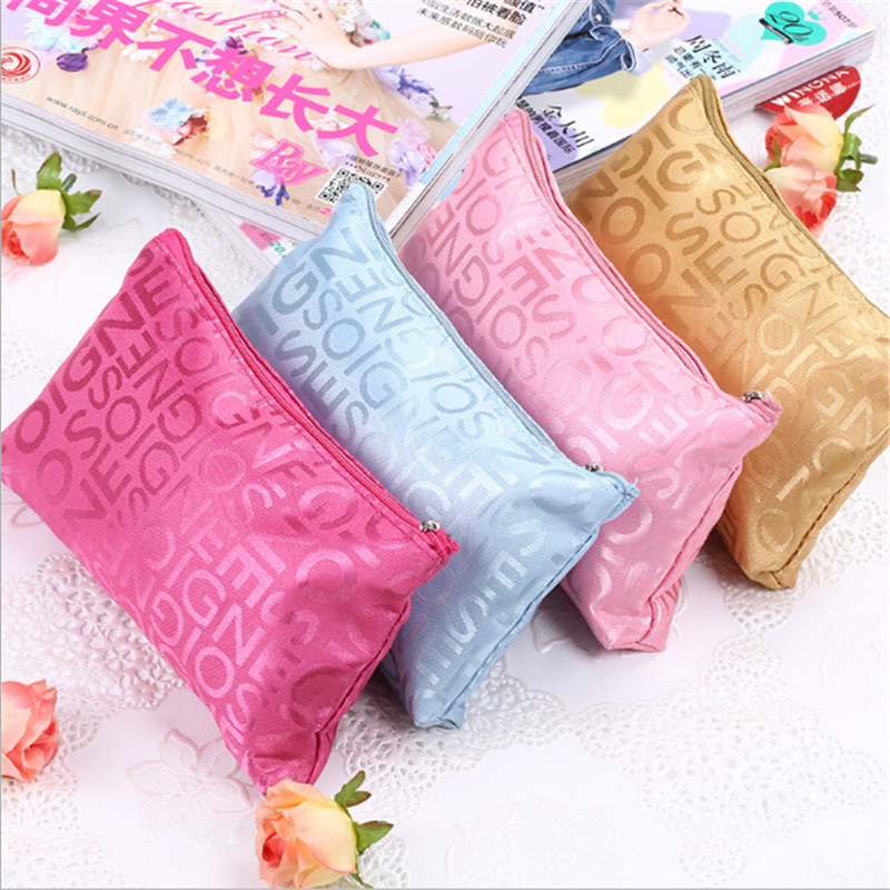 Ladies Portable Beauty Zipper Travel Cosmetic Bag Cute Multifunction Letter Printed Makeup Bags Pouch Toiletry Organizer Holder