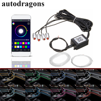 autodragons 6M APP control Electroluminescent Flexible El Wire Car interior decorative Colorful Glow Rope Tube for door galle