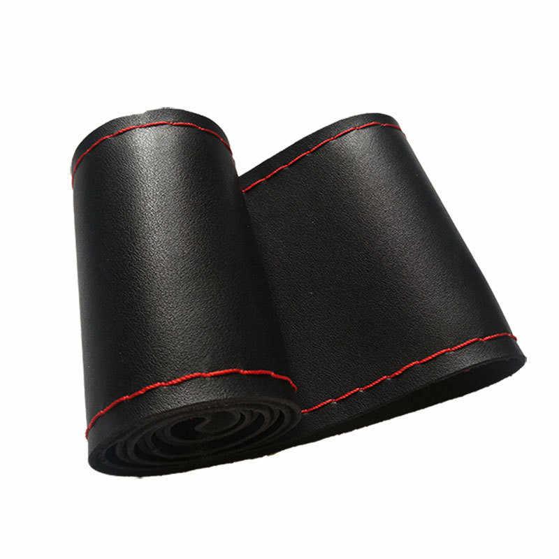 Couvre-volant bricolage 37 cm/38 cm tresse cuir souple sur le volant de voiture avec aiguille et fil accessoires intérieur