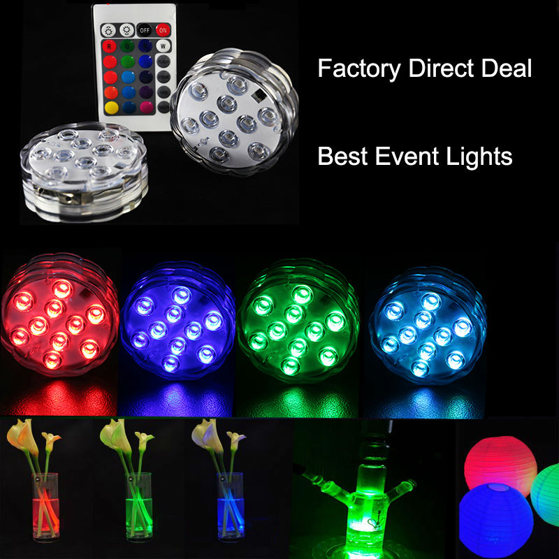 (100 pieces/lot)Different Colors Dual LED Waterproof Tea Light Battery Powered Submersib ...