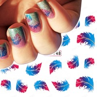 Order 3 Usd Feather Nail Art Decals Water Slide Transfer Diy