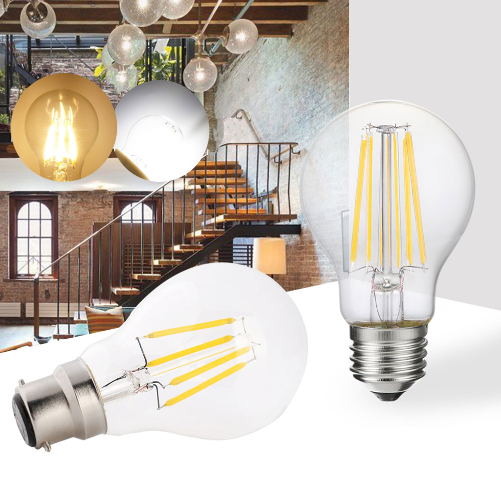 Dimmable E27 Retro LED Filament Light Lamp E14 B22 Bayonet 2W 4W 6W 220V G45 Clear Glass Shell Vintage Edison LED Bulb For Home