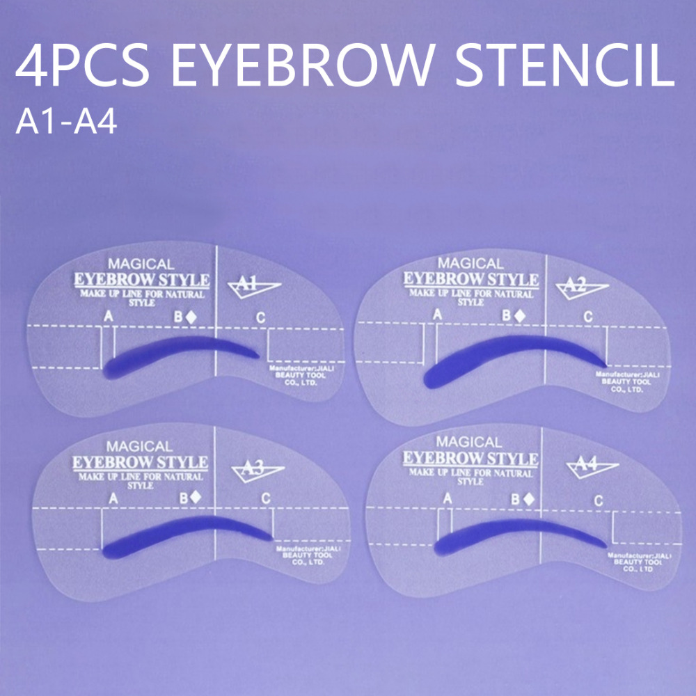 4pcs Kit Grooming Style Makeup Template Tools Eyebrow Stencil DIY Beauty Cosmetic Model Drawing Card Shaping A1-A4 eyebrow grooming kit