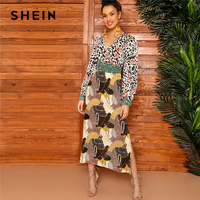 SHEIN Multicolor Mixed Scarf Print Tie Waist Split Side Dress Women Spring Wrap V Neck Fit and Flare A Line Bohemian Dresses