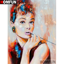 HOMFUN Full SquareRound Drill 5D DIY Diamond Painting Oil painting beauty Embroidery Cross Stitch 3D Home Decor Gift A13357