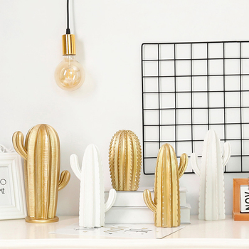 White & Gold Cactus Ornament Bathroom Bedroom Departments Dining Room Entryway Home Accessories Living Room Outdoor Rooms