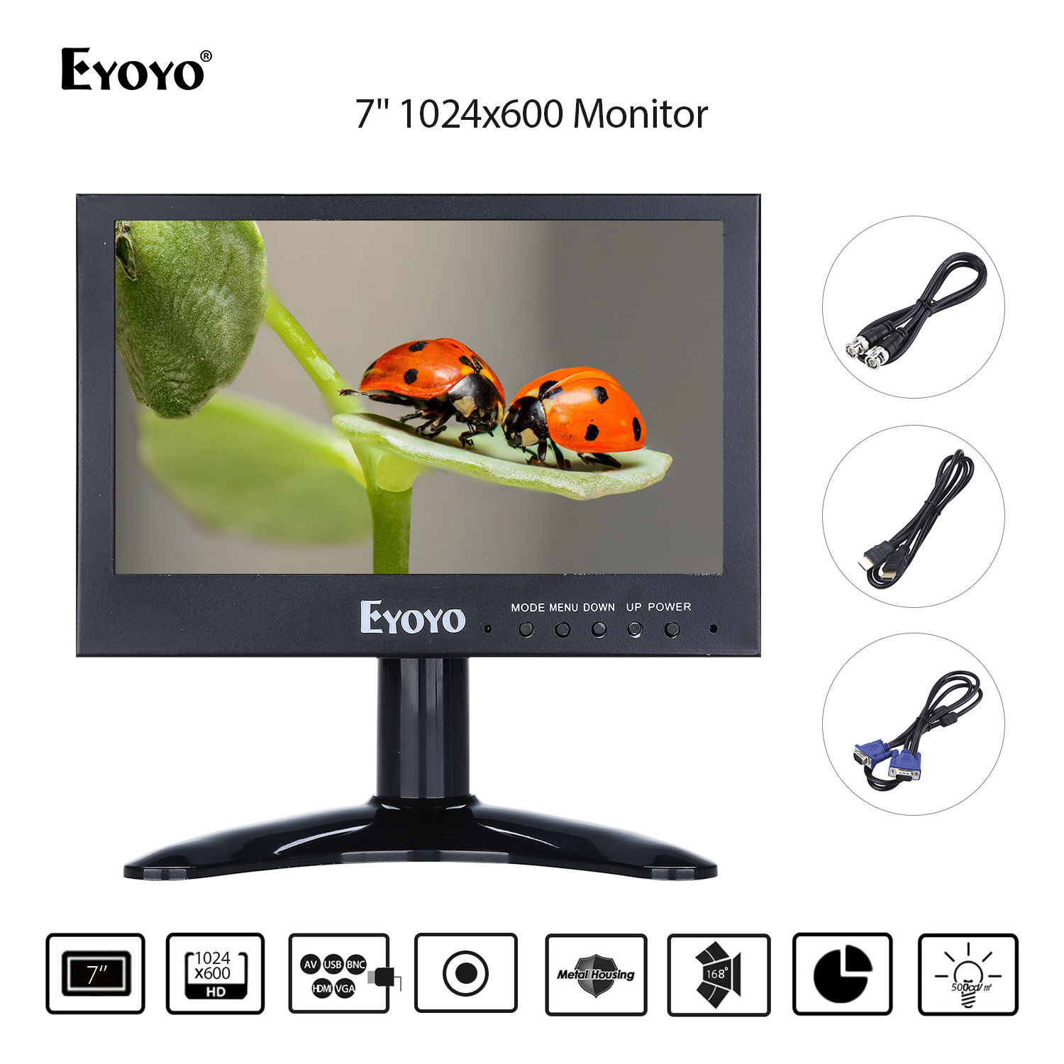 Eyoyo  7 Mini Monitor 1024x768 LCD Screen CMOS Display 16:9 168degree Wide Angle View BNC/USB/HDMI Output Metal Hosing Design 9 7 lcd display screen for onyx boox 9 7 m92 m92s e book reading