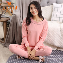 Autumn women long-sleeve lounge pajamas knitted cotton leisure sleep set solid o-neck brief pyjama sleepwear for young ladies