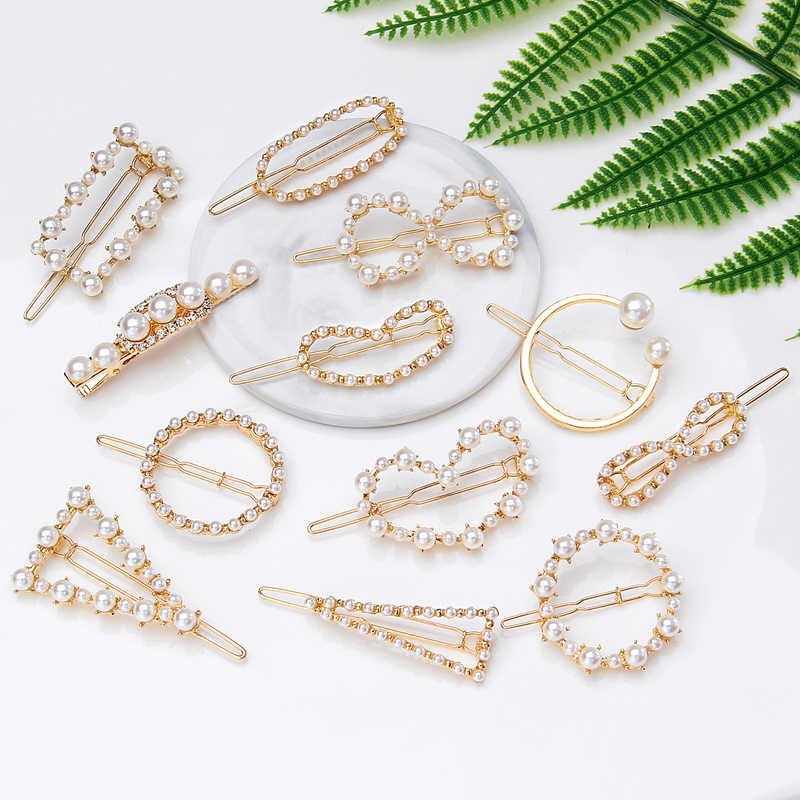 ZOSHI 2019 New Fashion Women Pearl Hair Clip Snap Hair Barrette Stick Hairpin Gold Hair Accessories For Women Girl Dropshipping