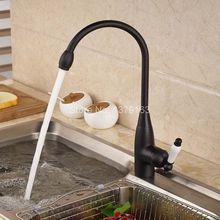 Черный Масло Втирают Латунь Одной ручкой поворотным носик Кухня раковина кран холодной и горячей смеситель ahg025