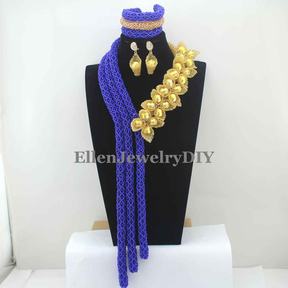 Королевские синие бусы, цветок, ожерелье с кристаллами ручной работы в Дубае, нигерийские Свадебные бусы, африканские бусины, ювелирные наб