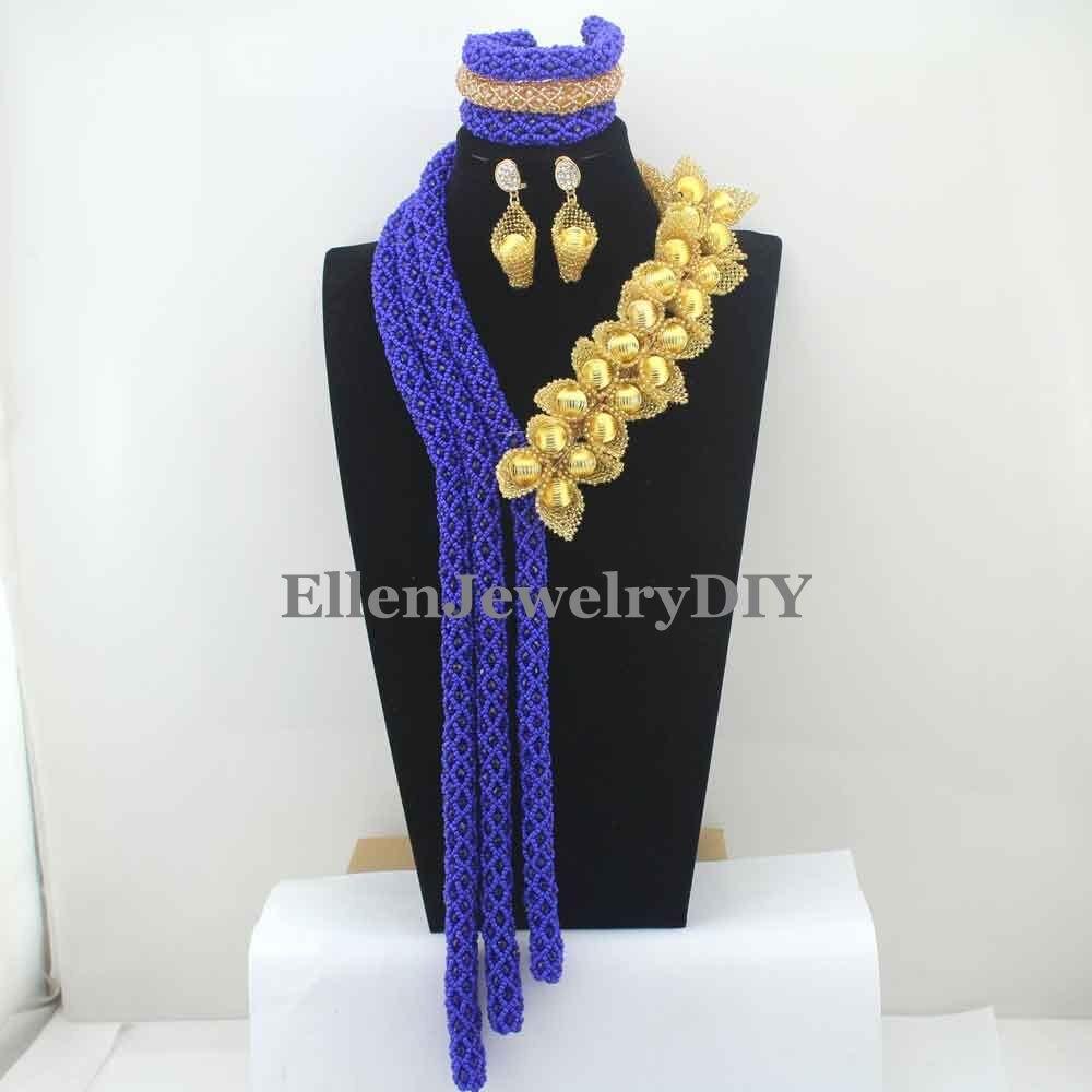 2019 Королевский синий бисер цветок ожерелье с кристаллами ручной работы для Дубай нигерийской свадьбы свадебные бусы африканские бусы Ювел