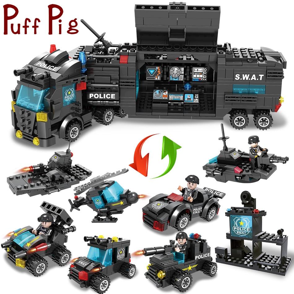 8in1 SWAT Team Truck Vehicle Building Blocks with Police Figures Bricks 750pcs
