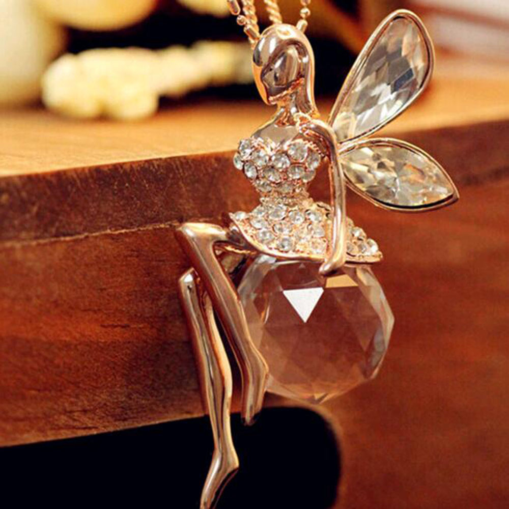 2016 Fashion Gold Plated Crystal Angel Wings Long Chain Necks