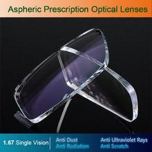 1,67 Einzigen Vision Asphärische Optische Brillen Brillenglas UV400 Anti strahlung AR Beschichtung Brille gläser Linsen