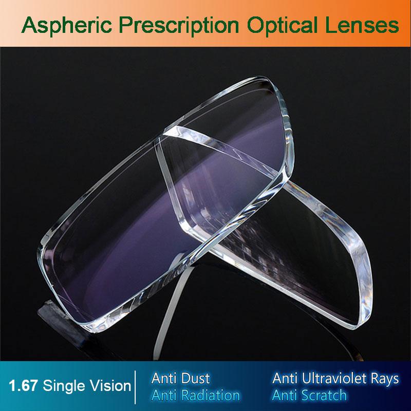 1,67 sola visión ópticos asféricos gafas lentes de prescripción UV400 Anti-radiación recubrimiento AR gafas lentes