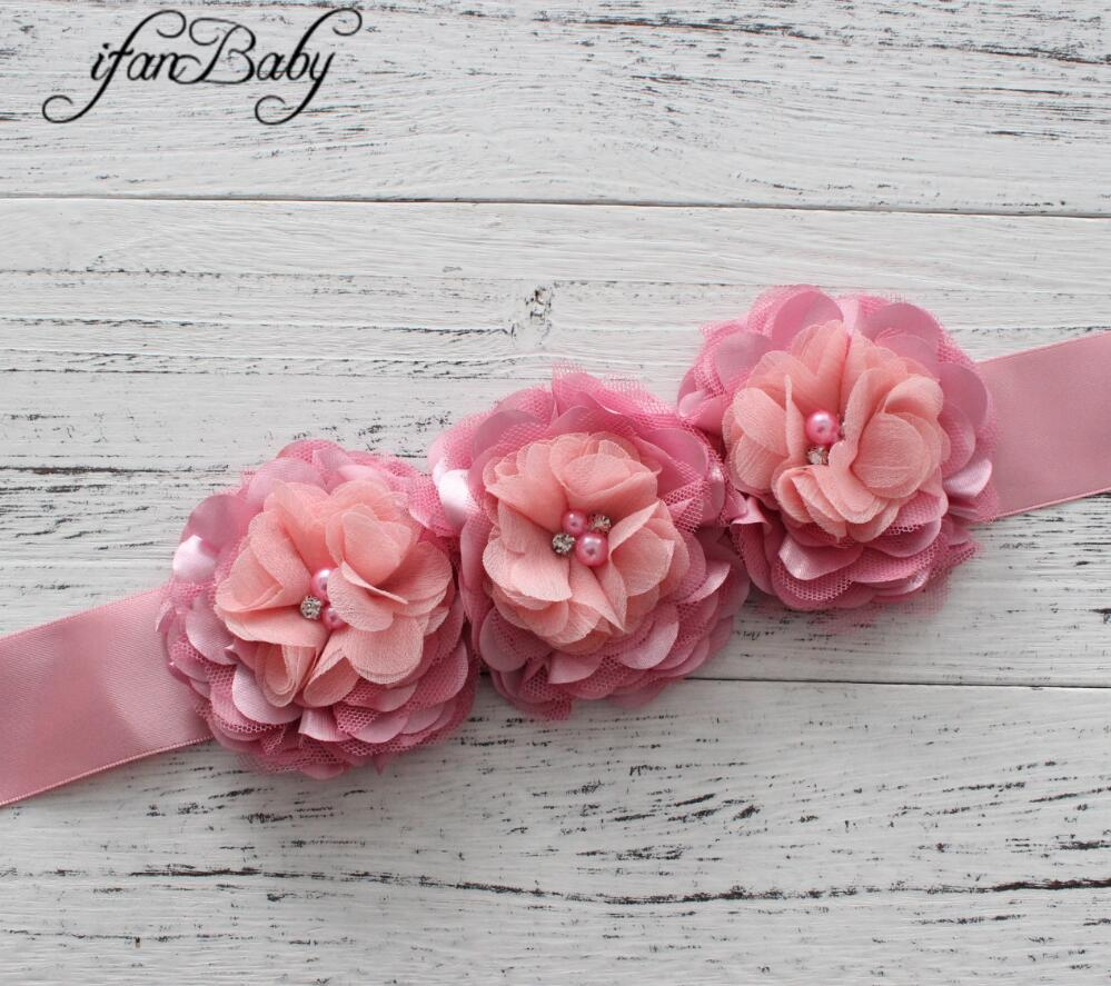 Модные туфли со стразами узор атласной ткани цветок пояса ленты для девочки пояс - Цвет: 03