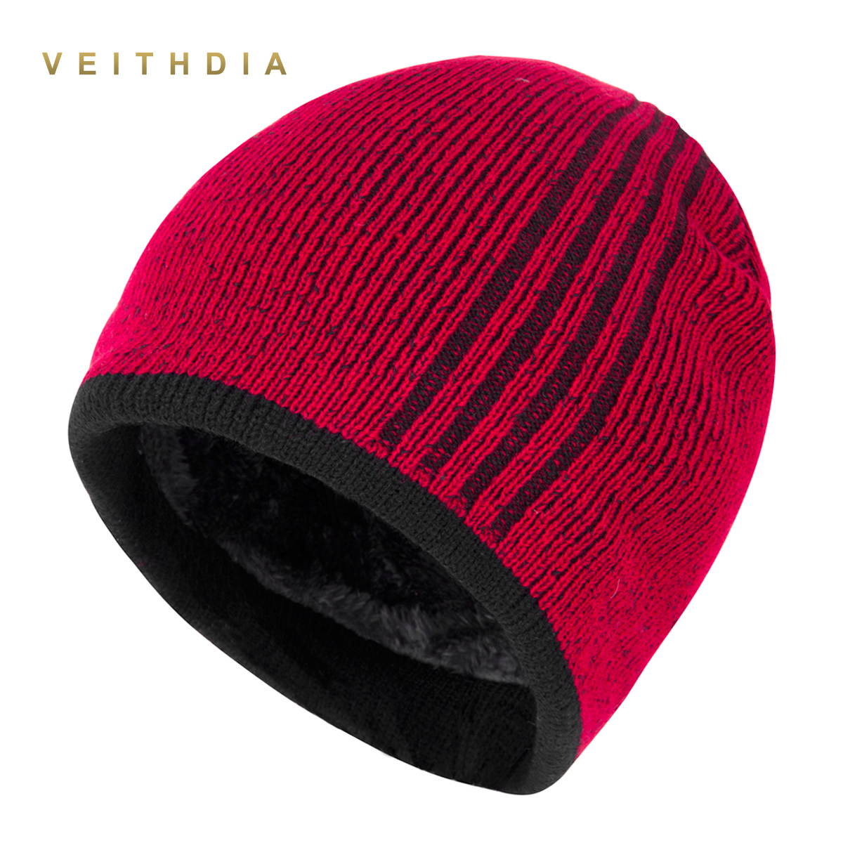VEITHDIA Brand Men Winter Hat Practical Skullies Hats beanies Knitted Plus velvet Stripe Color Men's Hat Gorro Thicken warm Cap