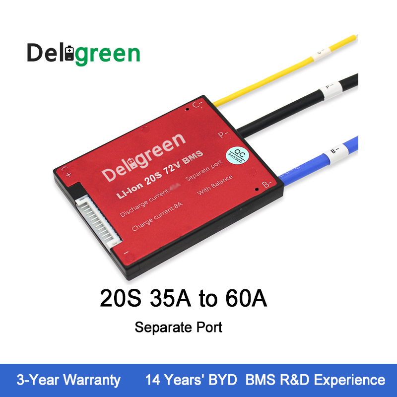 Protection Circuit Board 20S35A45A60A 72V BMS for lithium battery pack LiFePO4 3.2v rated with Separate Port Scooter lto battery bms 5s 12v 80a 100a 200a lithium titanate battery circuit protection board bms pcm for lto battery pack same port