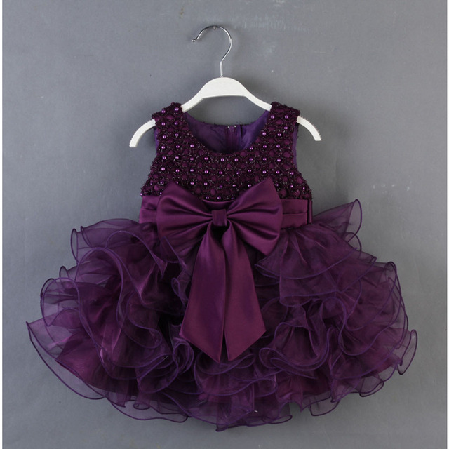 High Quality 2017 New Baby Girls Dresses Children Clothing Ball Gown Dress Kids Bow Lace Princess Clothes 5 Color