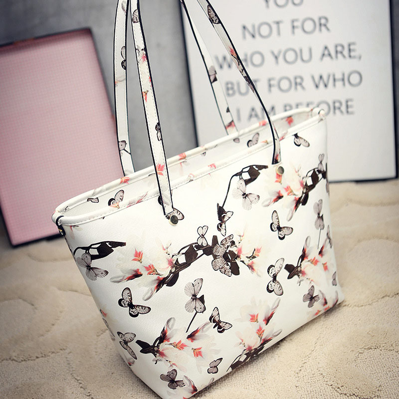 цены  New Fashion Women Handbags European and American Floral Bow Shoulder Bags 3 Colors Lady Messenger Bag Zipper Female Large Bags