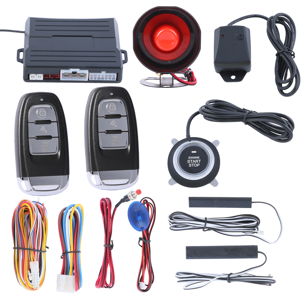 Aliexpress com buy hopping code pke car alarm system with remote engine start push button start stop pke status choose and auto arm from reliable alarm