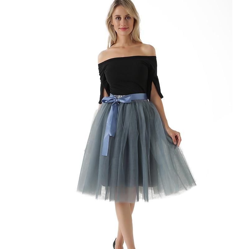 Új érkezés Elegáns női elasztikus derék vállpántokkal Tutu tüll szoknya Felnőtt szoknya Női Lolita Petticoat koszorúslányok Jupe Saia fald