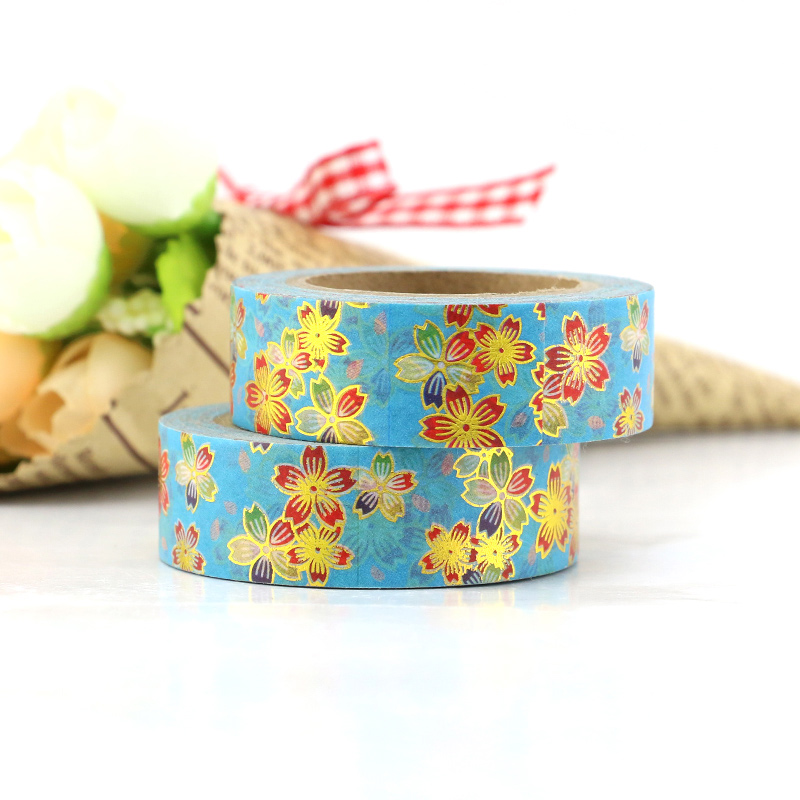 New Flower Foil Washi Tape Japanese 10m Kawaii Scrapbooking Tools Masking Tape Christmas Photo Album Diy Decorative Tapes