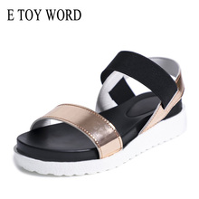 E TOY WORD Women Sandals Slip On Elastic Band Peep Toe Female Summer Shoes Platform Flat Roman Ladies Comfort Footwear