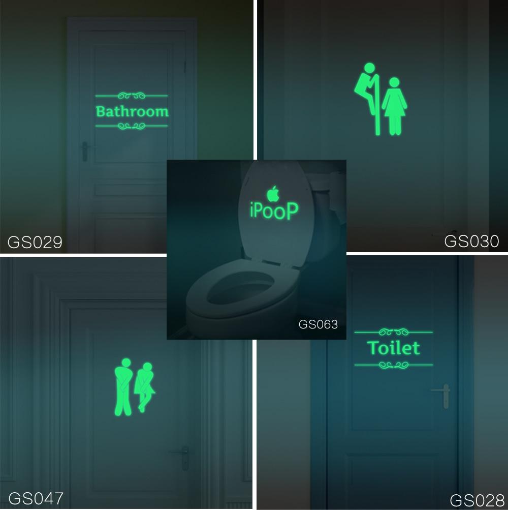Wall stickers glowing - 2017 Creative Luminous Wall Stickers Bathroom Decoration Toilet Door Vinyl Wall Art Decals Glow In The