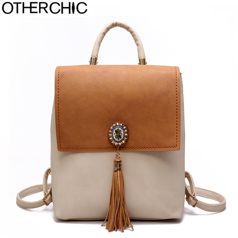 OTHERCHICLeather Tassel Backpack Fashion Knapsack Women Backpacks Teenager School Bags Bohemian Female Backpacks Sac L 7N08