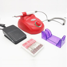 18W Electric Manicure Drill Nail Machine with 6 Drill Bits & Foot Pedal for Nail Polish Grinding Nail Art
