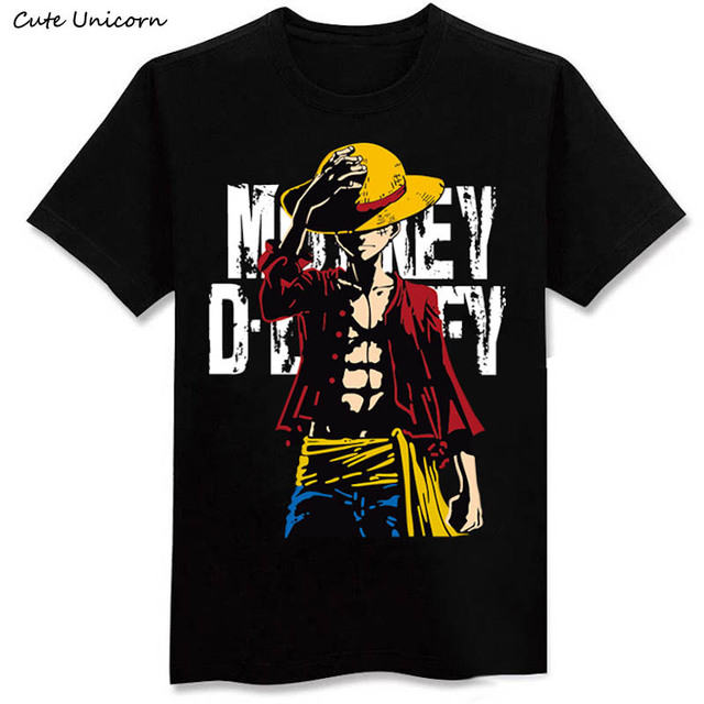 Cute Unicorn One Piece Luffy T shirt casual tshirt homme O neck streetwear man t-shirt boys clothes anime summer top tees