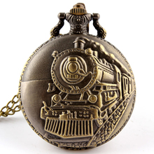 Retro Bronze Steampunk Train Carving Quartz Pocket Watch Necklace Chain Unique Watch Gift For Men Women Reloj de bolsillo