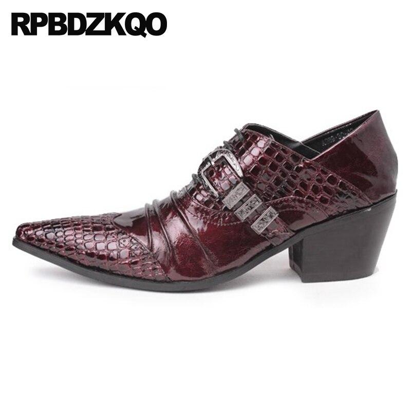 5779879a850d3 Office High Heel Men Burgundy Monk Strap Python Leather Snakeskin Alligator  Snake Skin Brand Luxury Crocodile Shoes Large Size