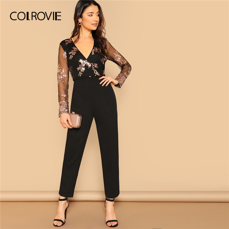 COLROVIE Black Deep V Neck Contrast Sequin Wrap Front Elegant   Jumpsuit   Women 2019 Spring Long Mesh Sleeve Casual Ladies Rompers