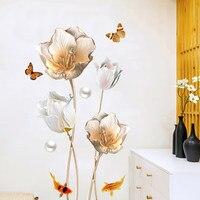 Творческий романтический цветок виниловые наклейки на стену DIY 3D Рыба Гостиная Ванная комната Домашний декор плакат Wallpaer