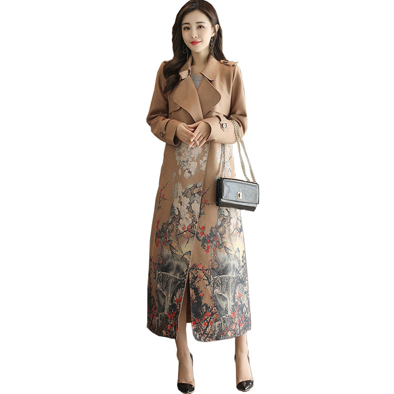 Spring Autumn women's new national wind-Retro coat long paragraph Suede Slim   trench   coat female printed temperament   trench   coat