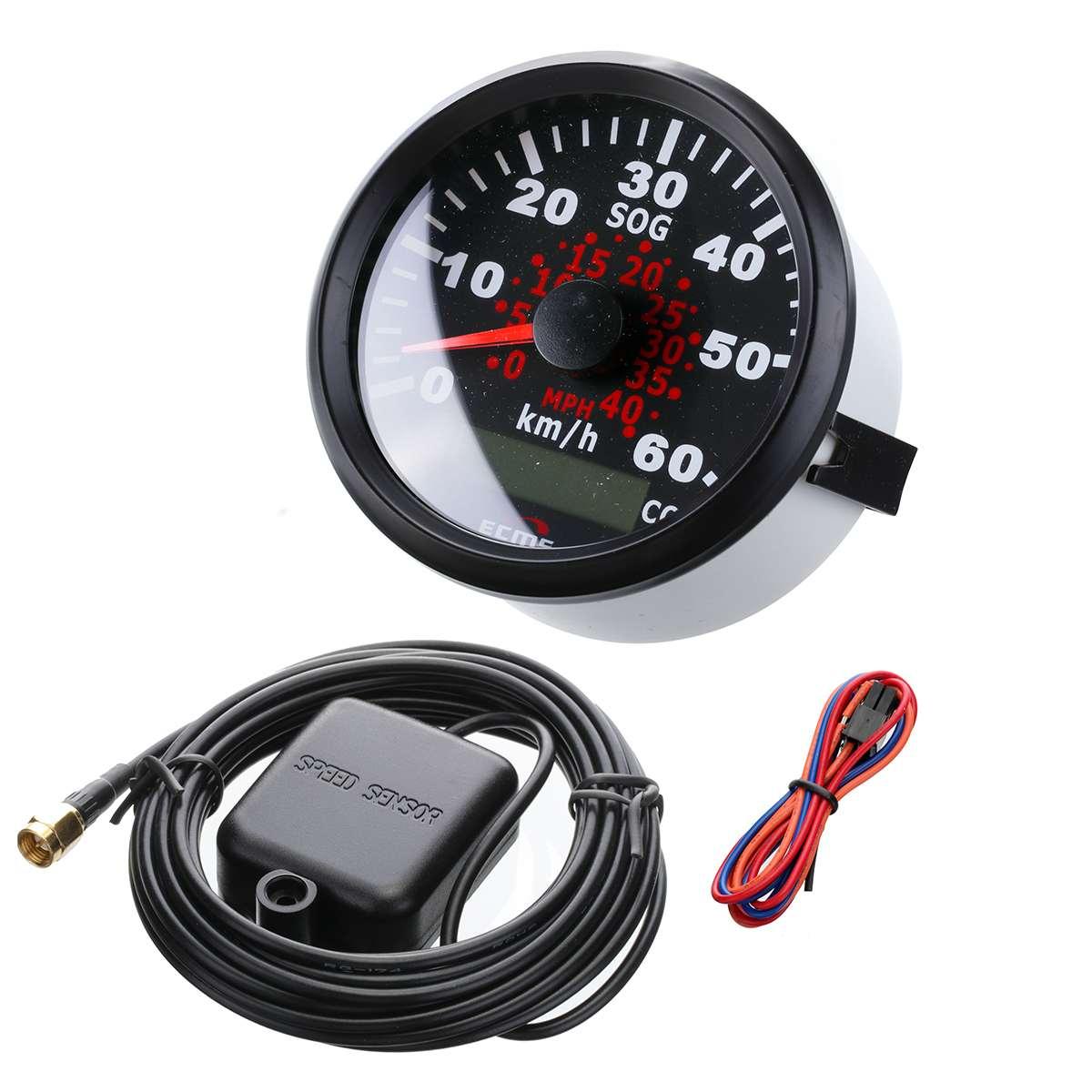 85mm Auto Car Truck Marine GPS Speedometer Waterproof Speed Sensor Meter Gauge Digital Odometer Automobiles Replacement Parts 12