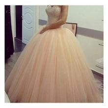 Heißer Verkauf Glamorous Schatz Zipper-Up Zurück Rosa Abendkleid Mit Perlen Lange Tüll Abendkleid Benutzerdefinierte Homecoming Kleider