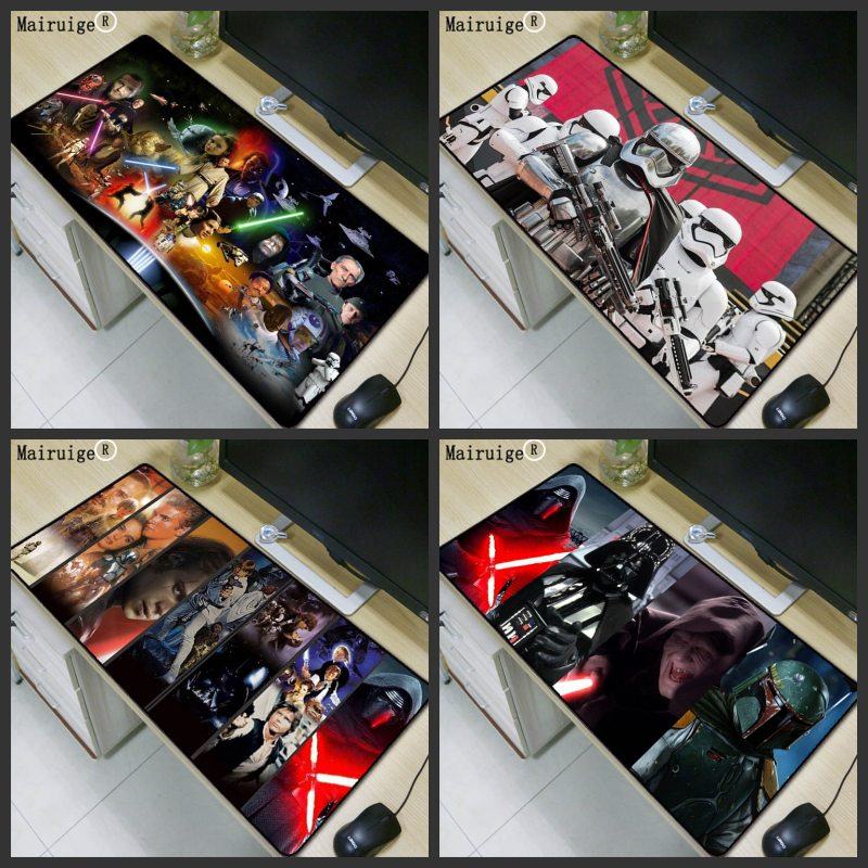 Mairuige Movie Character Print Game Mouse Pad Laptop Peripheral Keyboard Pad Large Size 40*90 Table Mat for Star Wars Rug