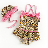 Bosudhsou Summer Leopard Print Baby Girls Swimwear one pieces Kids Swimsuit Bathing Suit Beach Wear Hat Children Clothing H-95
