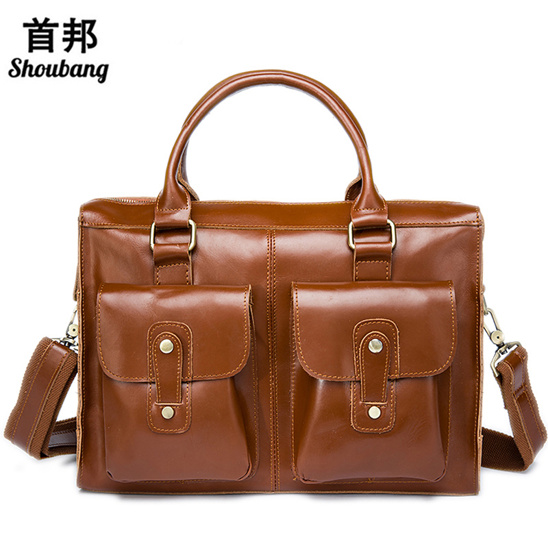 где купить Business Men Briefcase Leather Laptop Bag Male Genuine Leather Men Bag Work Bags Men Shoulder Bags Casual Handbags Totes по лучшей цене