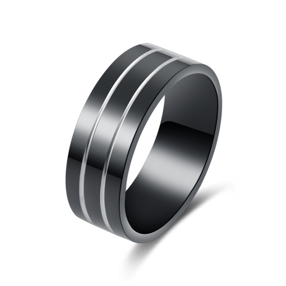 Never Fade Stainless Steel Ring Black Gun Plated Distinctive Men Rings 003 ...