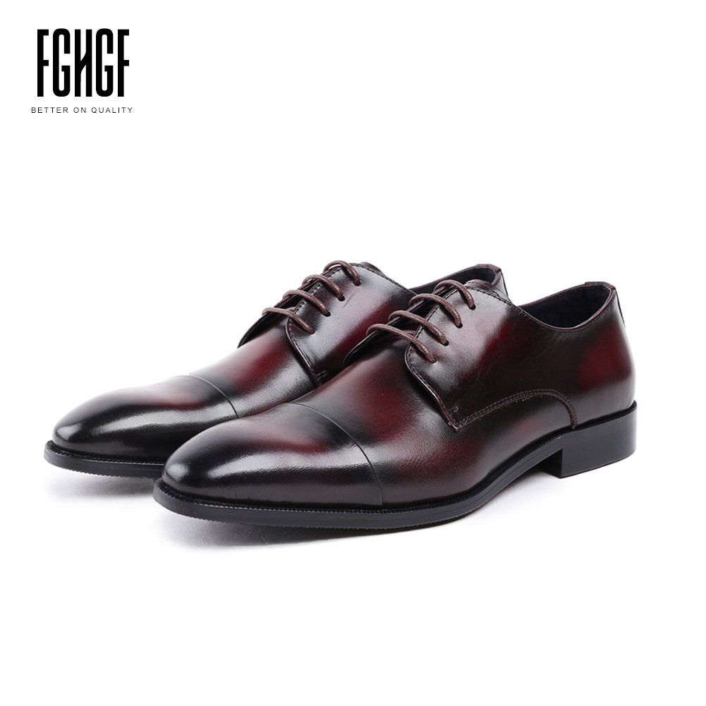 Men's Derby Shoes Genuine Leather Cowhide Leather Round Toe Office Style Dress Wedding Business Shoes 2018 New Lace-up new arrival men casual business wedding formal dress genuine leather shoes pointed toe lace up derby shoe gentleman zapatos male
