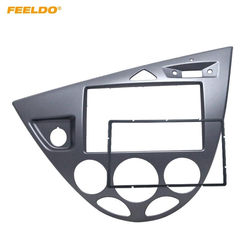 FEELDO gris voiture 2DIN panneau stéréo Fascia Radio réaménagement Dash kit d'outils pour habillage pour Ford Focus 98 ~ 04 (LHD)/Fiesta 95 ~ 01 (LHD)