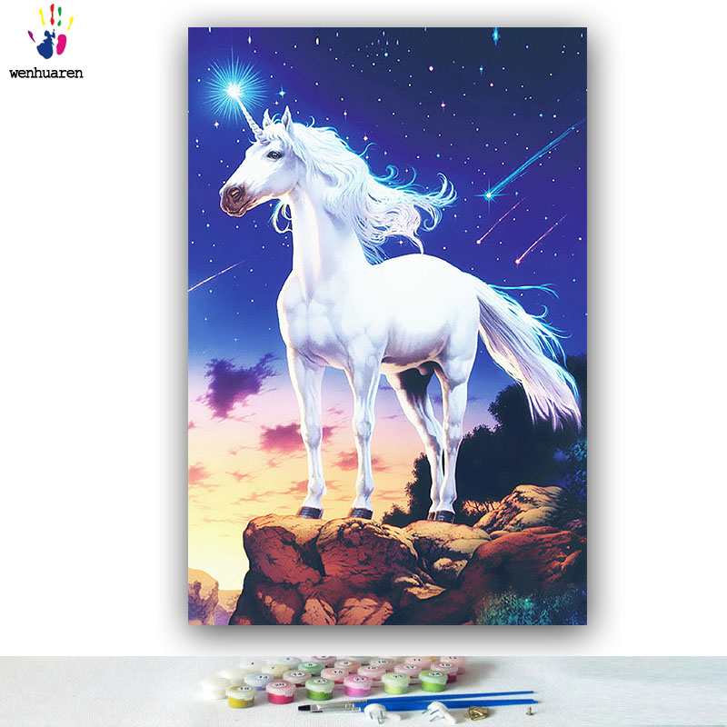diy painting by numbers animals horse unicorn night meteor pictures color paint by numbers with kits tools for adults on canvas
