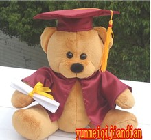 lovely bear dolls cute doctor Brown bear plush toy with winne-red Doctorial hat and cloth doll birthday gift about 28cm